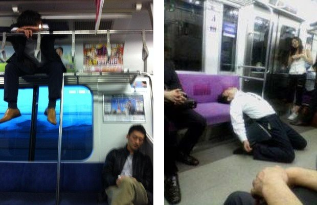 japan train passengers sleeping cool pictures