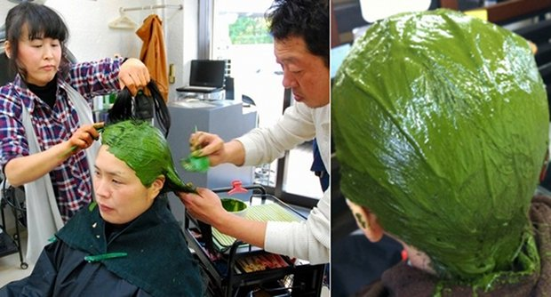 matcha green tea hair dye kyoto beauty salon japan