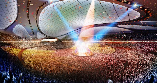 zaha hadid national stadium tokyo olympic games 2020 roof retractable design
