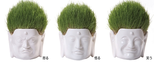 buddha head hair salon flower plant pot