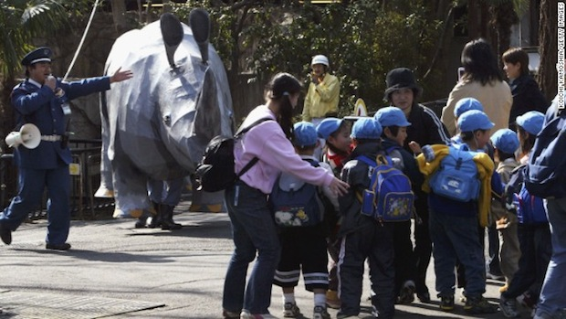 ueno zoo escaped rhino fake loose animal drill zookeeper dressed up