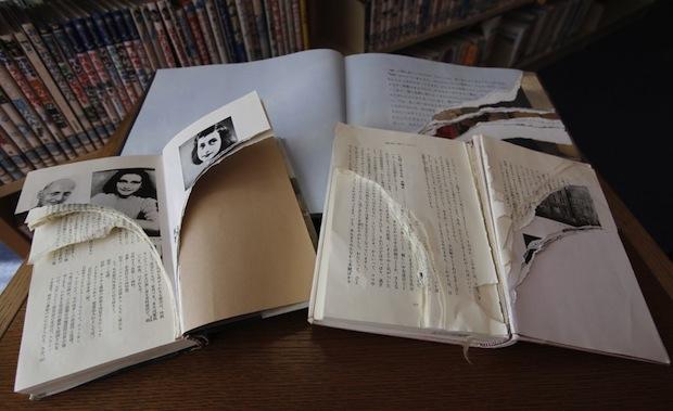 anne frank diary vandalized japan tokyo racism