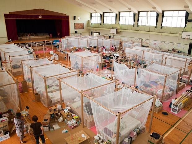 Paper Partition System 4, 2011, Japan  Photo by Voluntary Architects' Network