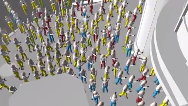 ntt docomo shibuya scramble crossing video pedestrian smartphone use simulation