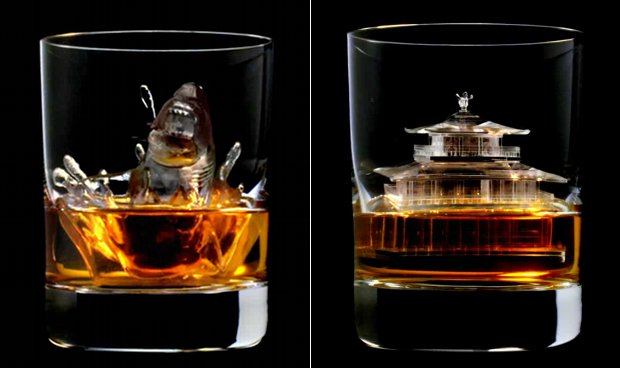 suntory whisky 3d ice cube rock sculpture shoe temple
