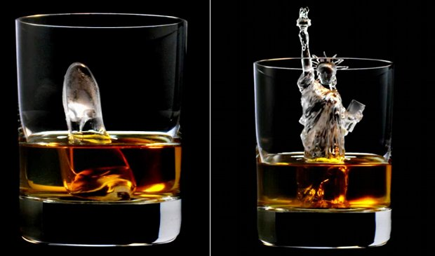 suntory whisky 3d ice cube rock sculpture statue of liberty shoe
