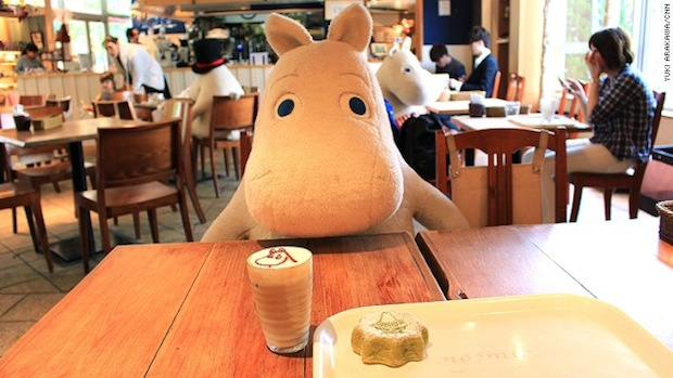 japan tokyo dome city laqua moomin cafe bakery anti-loneliness lonely customers diners eat alone characters