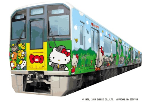 hello kitty train wakayama tourism campaign