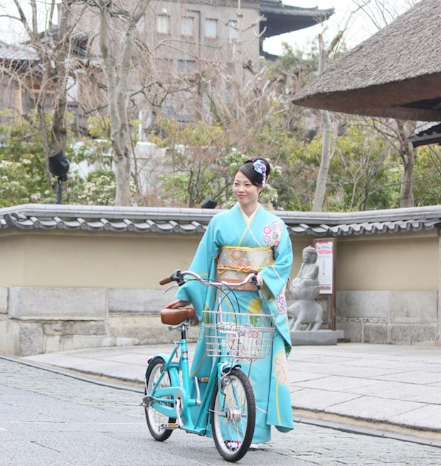 kyoto kimono bicycle koto lx 20 bike wear traditional clothes japan cyclists