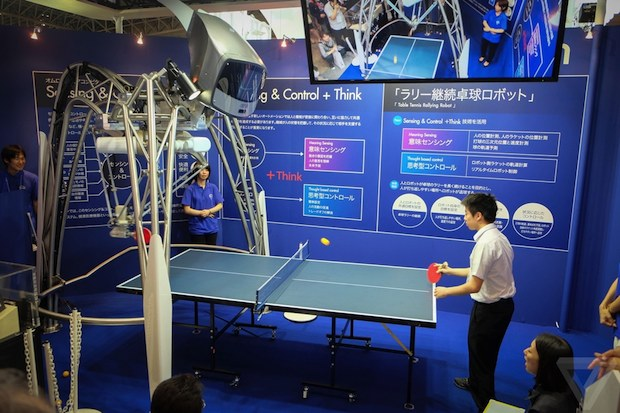 ceatec 2014 omron table tennis ping pong rally robot