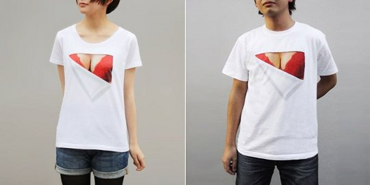 mousou mapping bra t-shirt bust reveal fake clothes