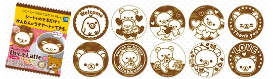 deco latte coffee decoration art sheet strip snoopy rilakkuma