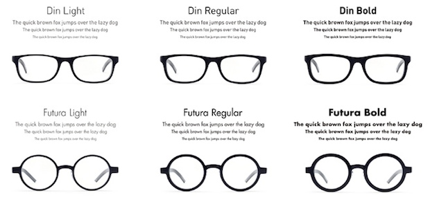 type font design eyewear japan din futura