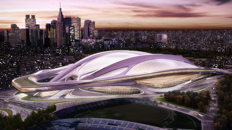 tokyo 2020 olympic games athletes village eco hydrogen power cells sustainable zaha hadid national stadium design