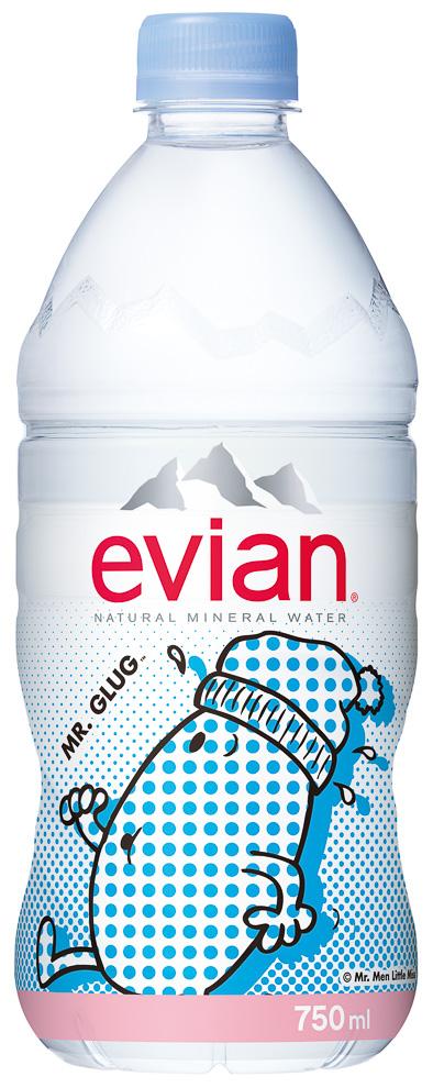 evian mr men little miss japan packaging label design bottled water sanrio mr glug