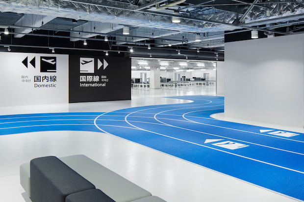 narita international airport terminal 3 lcc budget airline running track design muji furniture party opens