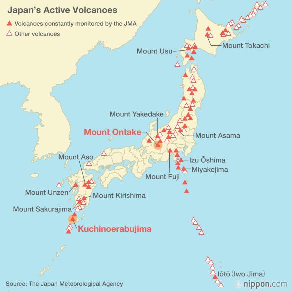 japan active volcanoes map