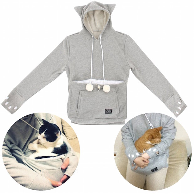 Mewgaroo Hoodie Pet Pouch Sweatshirt buy japanese cat snuggle cuddle pocket clothing buy