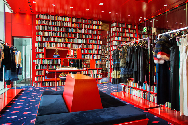 sonia rykiel tokyo aoyama store pop-up library book bookshelves shop