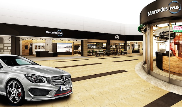 Mercedes benz takes over haneda airport with branded for Mercedes benz store