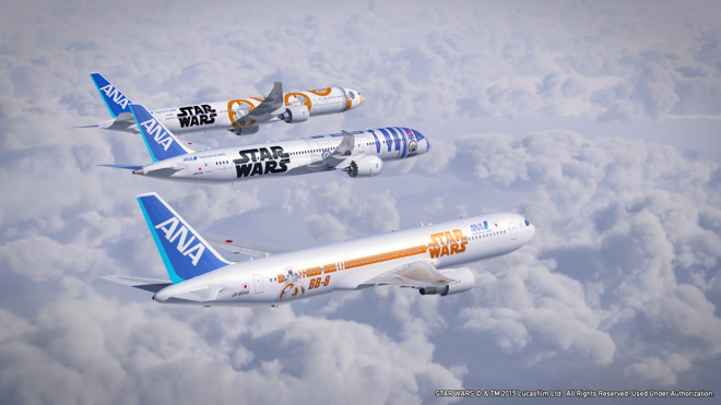 ana star wars airplane plane r2-d2 bb-8 boeing jet design