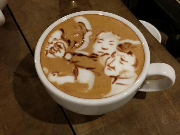 japanese security bills anpo sato masahisa brawl fistfight meme parody latte art cappuccino
