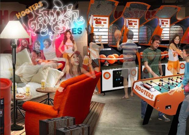 hooters japan shibuya gaming bar namco sports