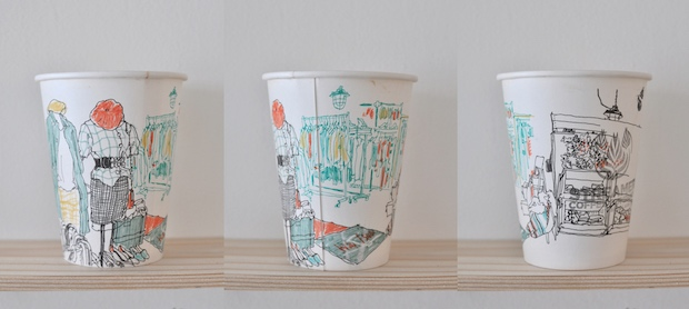 mariya suzuki paper cup coffee art illustration sketching japanese artist