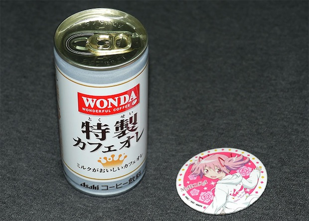 madoka magica vending machine comiket coffee can lawson convenience store badge