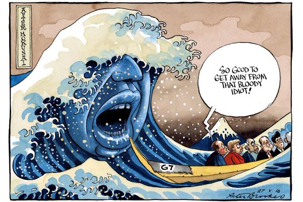 peter brookes british the times cartoon boris johnson g7 summit abe shinzo david cameron mistake