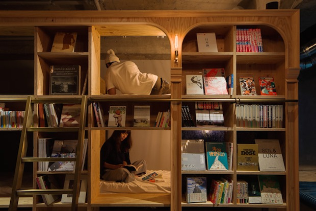 book and bed hostel hotel tokyo kyoto bookstore shop