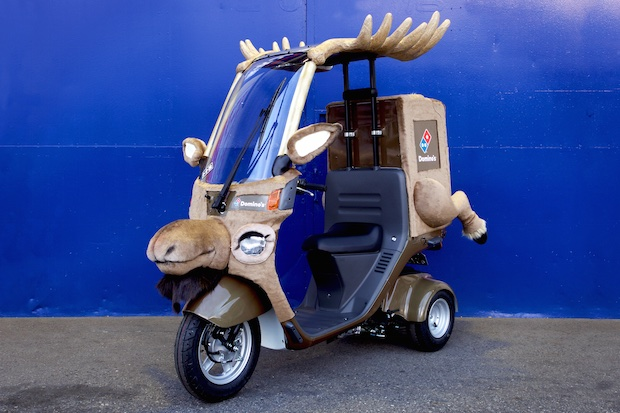 dominos pizza japan reindeer delivery takeaway bike cosplay costume
