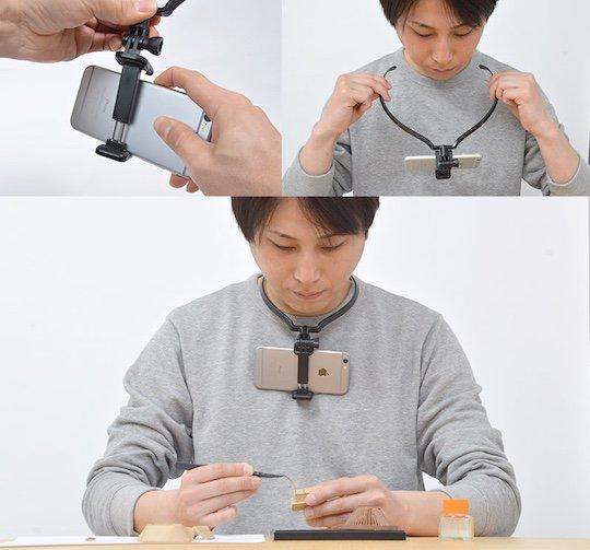 thanko smaneck smartphone handsfree neck holder