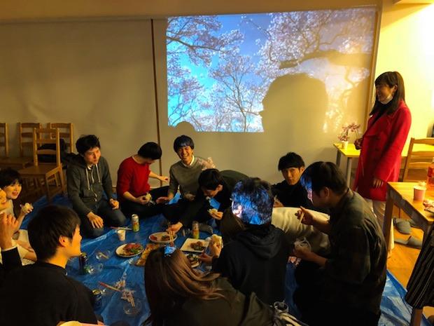 virtual hanami indoors sakura cherry blossom party