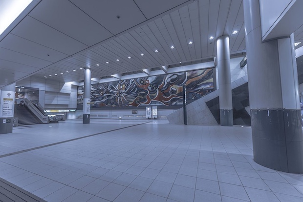 typhoon trami shinjuku station tokyo japan city ghost town deserted photo image