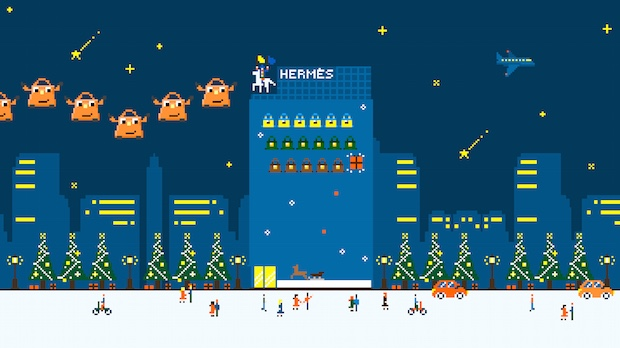 hermes jingle games maison ginza projection mapping tokyo japan christmas interactive