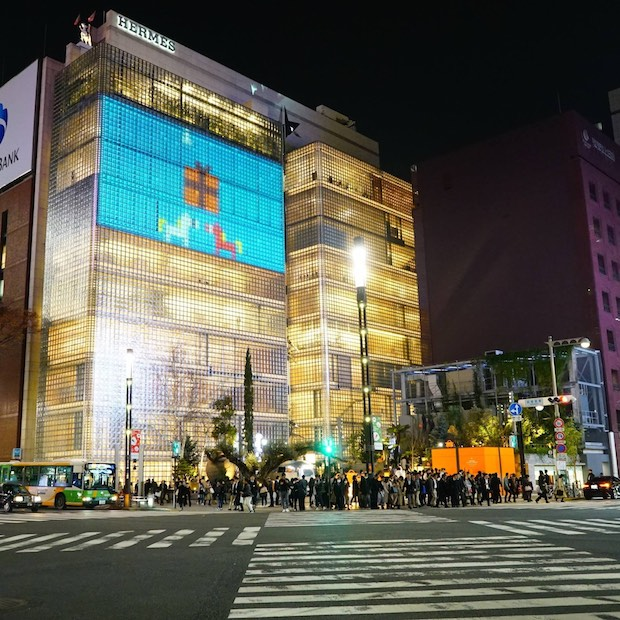 hermes jingle games maison ginza projection mapping tokyo japan christmas interactive sony park