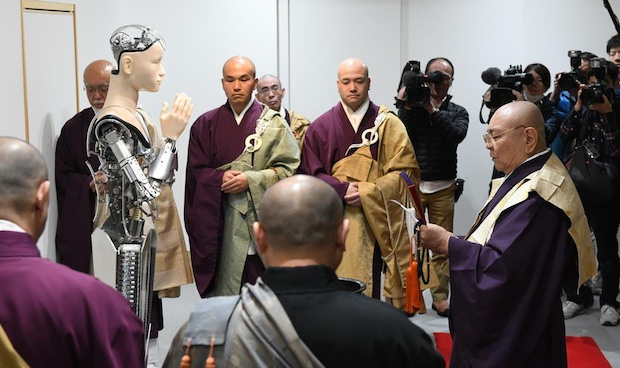 mindar kyoto temple android robot kannon goddess mercy buddhist preaching