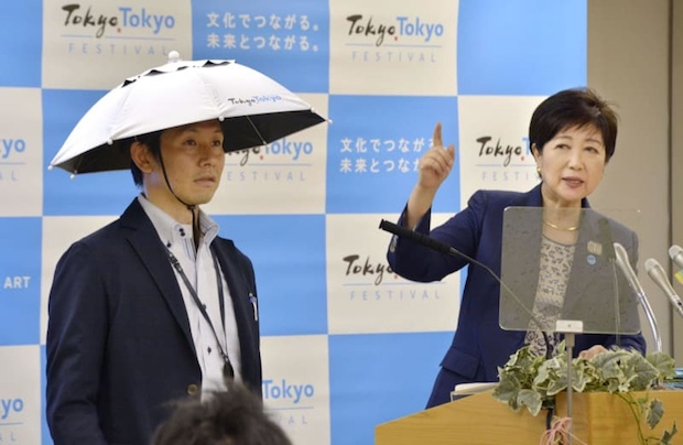 hat parasol umbrella heat summer protection japan tokyo olympics 2020 criticized mocked joke stupid funny